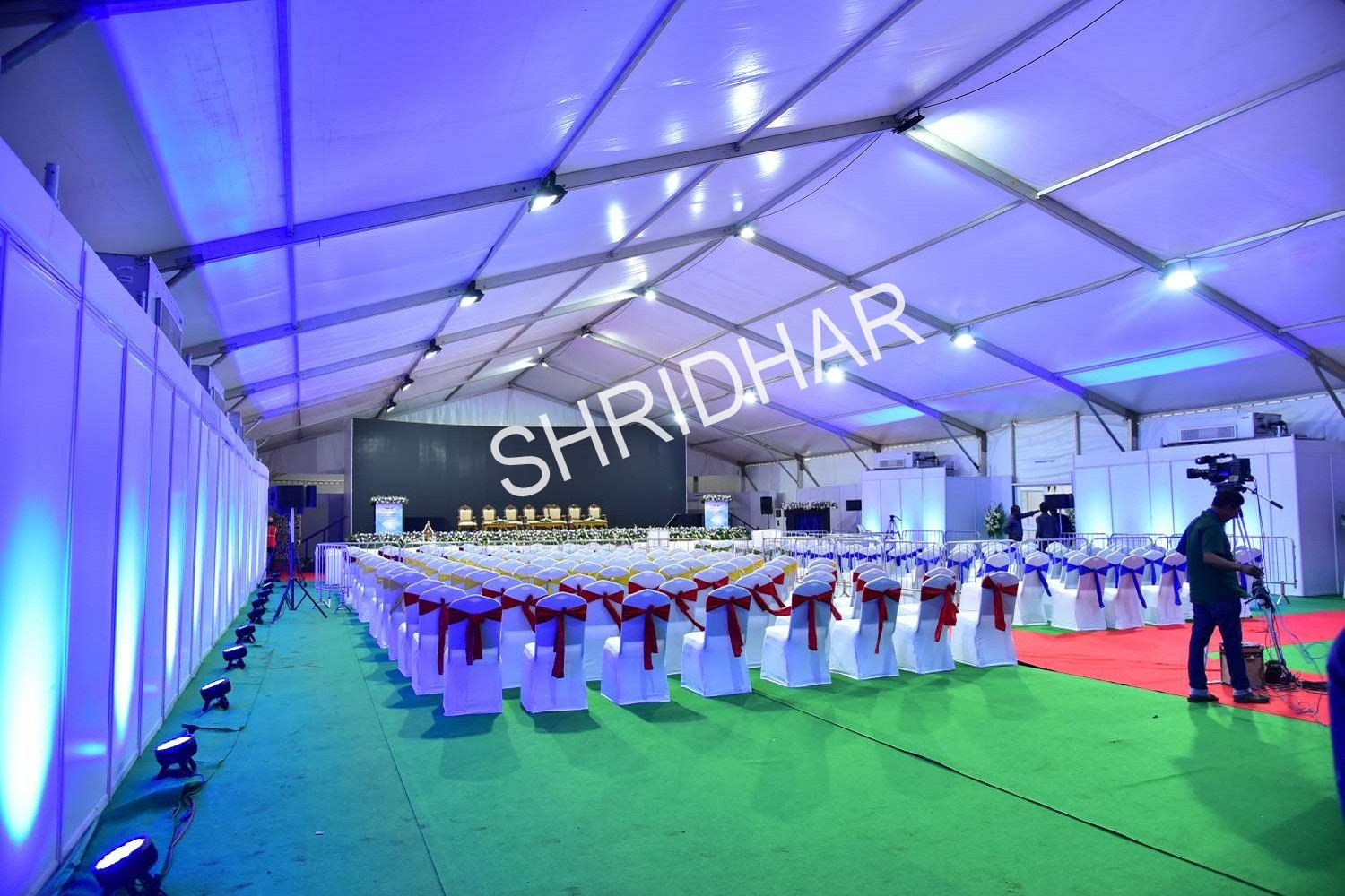 lighting and chairs with cloth covering for rent for hire for conferences in bangalore shridhar tent house
