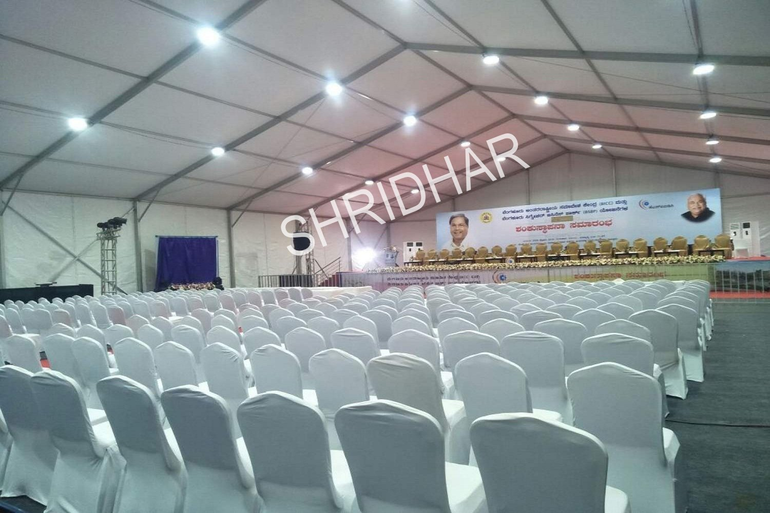 tents chairs wooden stages and lighting for rent for conferences in bangalore shridhar tent house