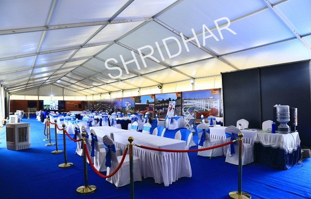 golden queue stands with red ribbons for rent shridhar tent house bangalore